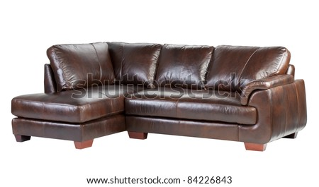 Nice and comfortable luxury genuine leather sofa isolated on white  - stock photo