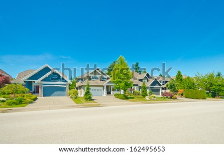 Nice and comfortable neighborhood. Some homes in the suburbs of Vancouver, Canada. - stock photo