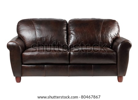 Nice and luxury leather sofa fit your living room - stock photo