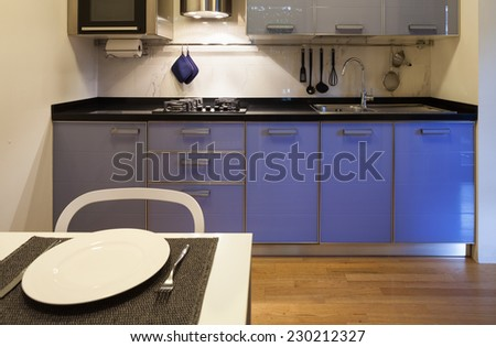 Nice apartment, interior, comfortable domestic kitchen - stock photo
