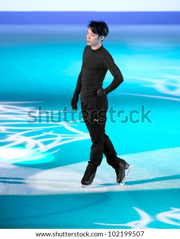 NICE - APRIL 1: Daisuke Takahashi of Japan skates during official gala exhibition practice at the ISU World Figure Skating Championships, held on April 1, 2012 in Nice, France - stock photo