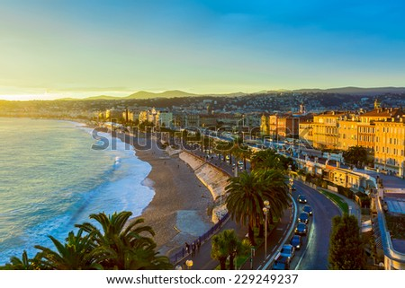 Nice at sunset, France - stock photo