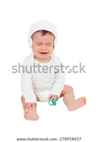 Nice baby crying isolated on a white background - stock photo