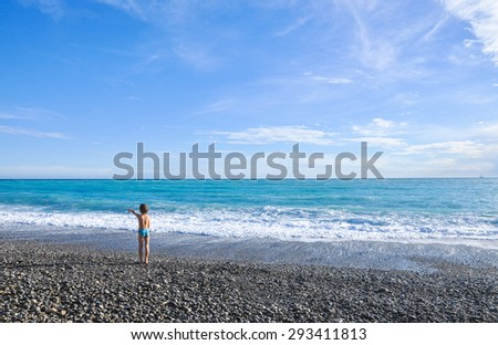 Nice beach - French Riviera - Boulevard Promenade des Anglais and famous Bay of Angels in Nice France - stock photo
