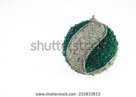 nice big blue and silver sparkling christmas ball - stock photo