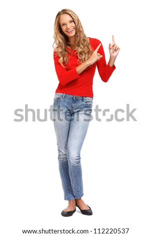 nice blond woman isolated on white - stock photo