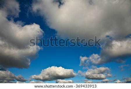 Nice blue sky with clouds formation in Denmark - stock photo