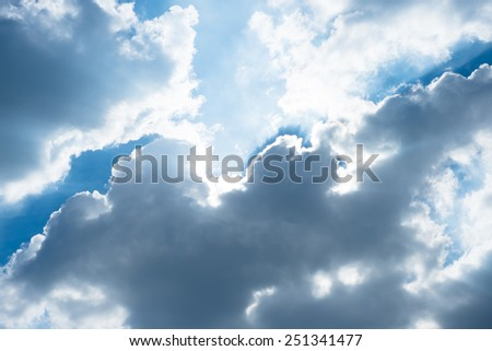 Nice blue sky with sun beam with cloudy. - stock photo