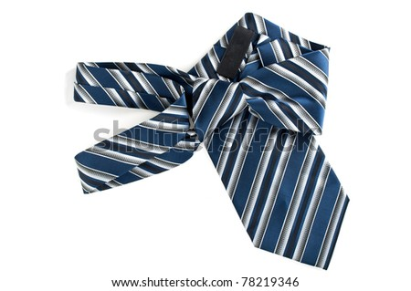 nice blue tie isolated on a white background - stock photo