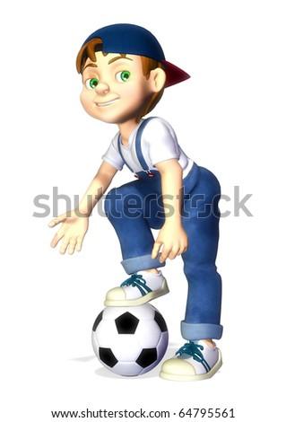nice boy cartoon footballer - stock photo