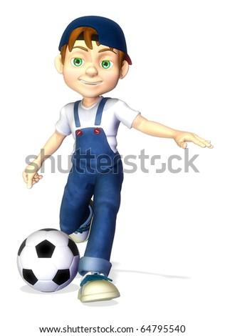nice boy cartoon footballer kick - stock photo