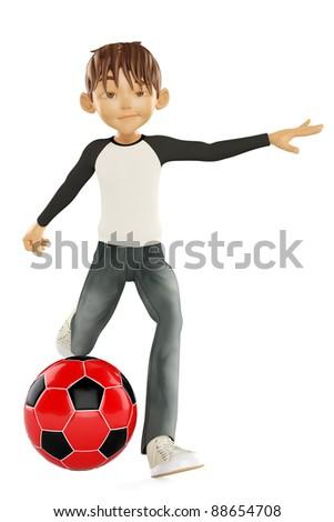nice boy kicking the ball - stock photo