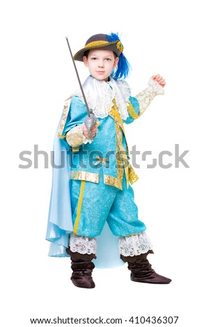 Nice boy wearing like musketeer posing with a sword. Isolated on white - stock photo