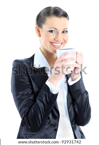 Nice business woman with a cup of coffee. Isolated on a white background. - stock photo