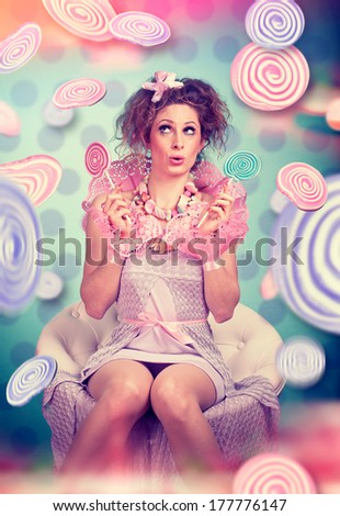 nice candy-girl with sweets - stock photo