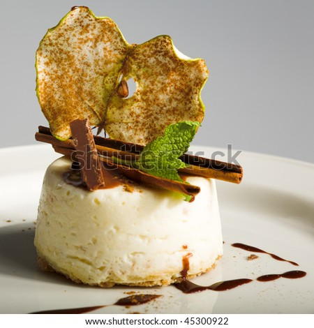nice cheesecake on the white plate - stock photo