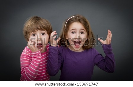 nice children screaming against world - stock photo