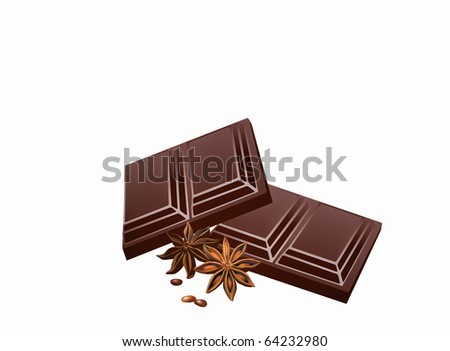 Nice close up of chocolate squares  isolated on white - stock photo