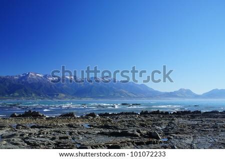 Nice Coast at Kaikoura, South Island of New Zealand - stock photo