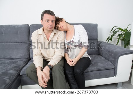 Nice Couple having an argument at home - stock photo