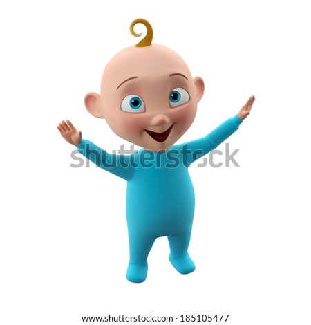 Nice 3d child, baby boy in blue pajamas, smiling happy toddler icon, beautiful tiny babies, cute symbol childhood, isolated on white background, cheering lifting your hands up, learning to walk   - stock photo