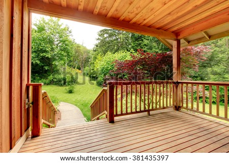 nice deck with beautiful scenery, and space. - stock photo