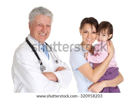 Nice doctor in a white coat with a stethoscope and patients - stock photo