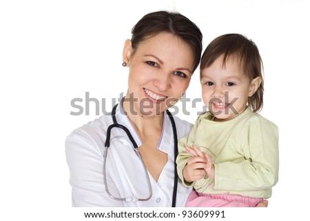 nice doctor with little girl on white - stock photo