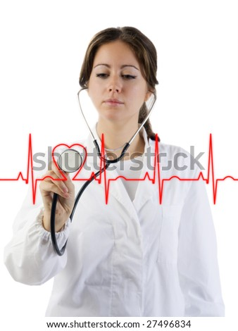 nice doctor with stethoscope auscultating the focus is on the stethoscope - stock photo