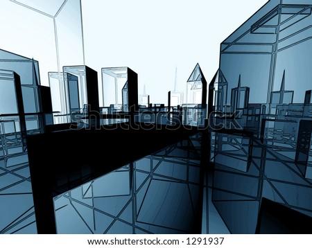 nice effect complex metropolis - stock photo