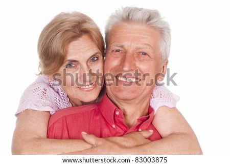 nice elderly couple on a white background - stock photo