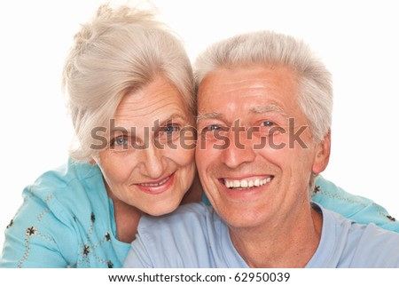 nice elderly together on a white - stock photo