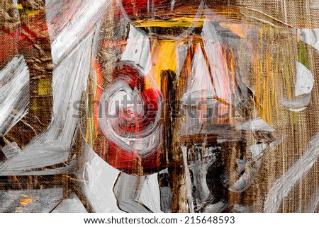 Nice expressive Abstract Oil painting on canvas - stock photo