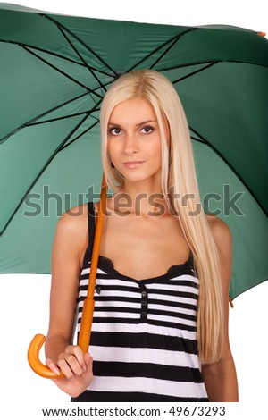 Nice fair-haired woman with green umbrella, it is isolated on white background. - stock photo