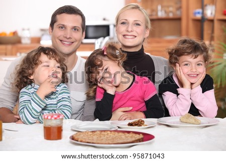 Nice family breakfast - stock photo