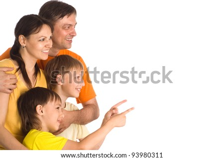 nice family of a four on a white - stock photo