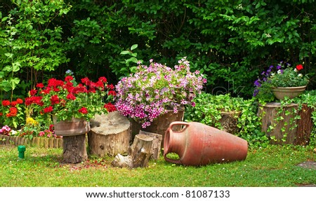 Nice flowers in the garden - stock photo