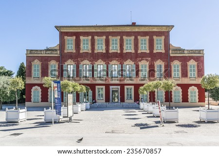 NICE, FRANCE - JULY 11, 2014: Matisse museum (Musee Matisse de Nice) devoted to work of French painter Henri Matisse, located in Villa des Arenes in Cimiez neighborhood. Museum opened in 1963. - stock photo