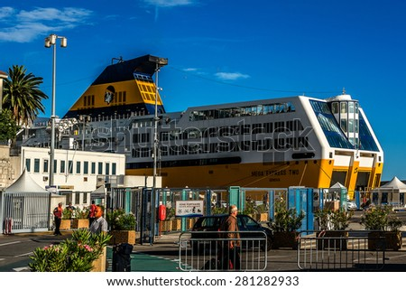 NICE, FRANCE - JULY 11, 2014: View on Port of Nice with yachts, boats, ships. French Riviera - turquoise sea and perfect recreation. - stock photo