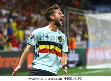 NICE, FRANCE - JUNE 22, 2016: Dries Mertens of Belgium reacts during UEFA EURO 2016 game against Sweden at Allianz Riviera Stade de Nice, City of Nice, France. Belgium won 1-0 - stock photo