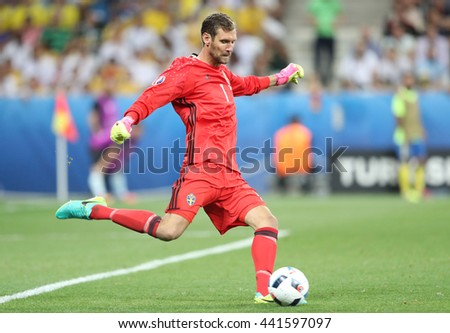 NICE, FRANCE - JUNE 22, 2016: Goalkeeper Andreas Isaksson of Sweden in action during UEFA EURO 2016 game against Belgium at Allianz Riviera Stade de Nice, Nice, France. Belgium won 1-0 - stock photo