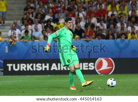 NICE, FRANCE - JUNE 22, 2016: Goalkeeper Thibaut Courtois of Belgium in action during UEFA EURO 2016 game against Sweden at Allianz Riviera Stade de Nice, Nice, France. Belgium won 1-0 - stock photo