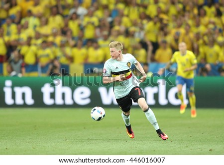 NICE, FRANCE - JUNE 22, 2016: Kevin De Bruyne of Belgium controls a ball during UEFA EURO 2016 game against Sweden at Allianz Riviera Stade de Nice, City of Nice, France. Belgium won 1-0 - stock photo