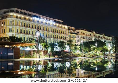 NICE, FRANCE - NOVEMBER 2, 2014: Fountain in the square Masena in Nice - stock photo