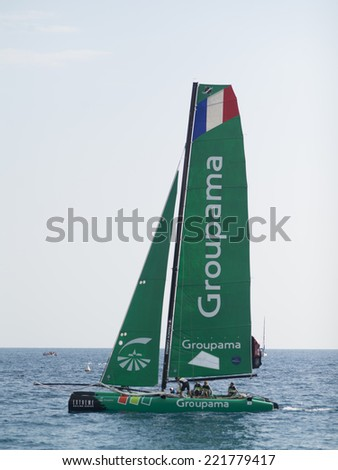 NICE, FRANCE - OCT. 5: second  day of cruises at the extreme 40 sailing competition, that has seen the victory of swiss team Alinghi on the 5th of october 2014 in Nice, France.  - stock photo