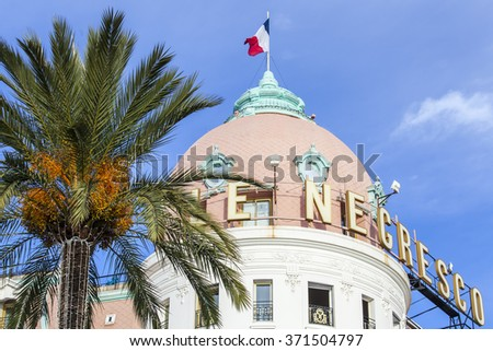 NICE, FRANCE - on JANUARY 8, 2016. Promenade des Anglais, Le Negresco's hotel, historical sight, one of symbols of Nice. Architectural details.  - stock photo