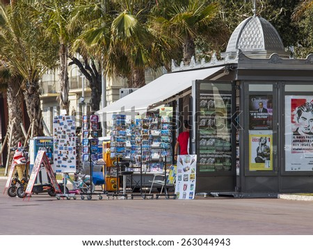 Nice, France, on March 14, 2015. A newsstand on the city street - stock photo