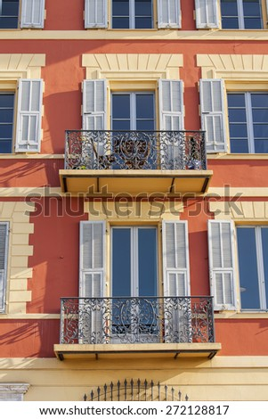 Nice, France, on March 11, 2015. Down town, typical architectural details in Provencal style - stock photo