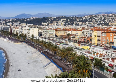Nice, France, on March 7, 2015. The top view on Promenade des Anglais, the most known city streets - stock photo