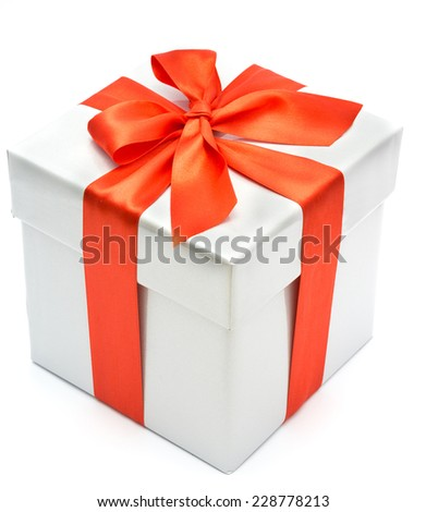nice gift box isolated on white background - stock photo